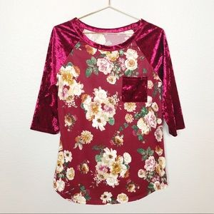 Floral and Velvet Raglan Sleeve Top